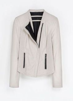 Beige Stand Collar Long Sleeve Crop PU Jacket pictures