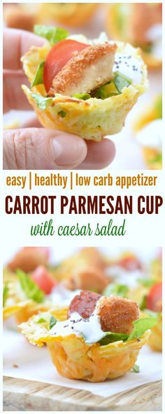2-ingredients carrot parmesan cups filled with caesar salad. Finally a low carb appetizer that boost you 5-a day while making salad a bit more fun to eat.