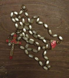 Antique mother of pearl rosary necklace pendant gold look &