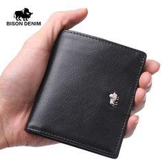 BISON DENIM Brand Business Genuine Leather wallet for men / women Small Thin Card Holder Slim Wallets Mini Zipper Coin Purse