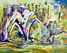 Sydney Opera House by Wendy Eriksson  Mixed Media 3.8cm (D) x 61.0cm (H) x 76.0cm (W)  One of my favourite topics to paint. I love the shapes and lines of the Sydney Opera House. Here I have used a very contemporary style to portray the life and vitality of this iconic cityscape. This painting uses collage pieces created especially.