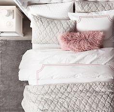 Italian Framed Satin Stitch Bedding Collection | RH TEEN