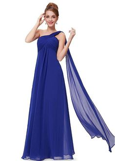 #Dressilyme - #Dressilyme Dressilyme In Stock Fabulous Chiffon One Shoulder Neckline Full Length A-line Prom / Mother Of The Bride Dresses With Pleats - AdoreWe.com