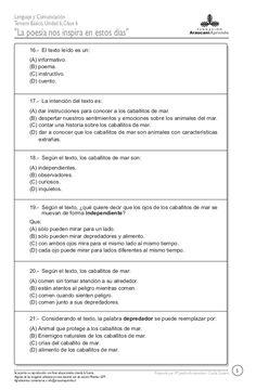 Prueba Texts, Comprehension Exercises, Reading Comprehension, Reading Comprehension, Second Best, Poems