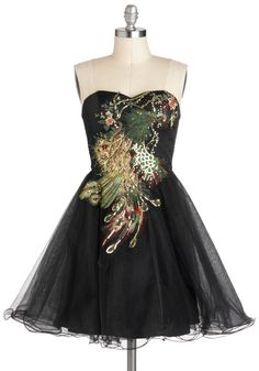Perfect Poise Peacock Dress - Short, Black, Multi, Embroidery, Sequins, Formal, Ballerina / Tutu, Strapless, Sweetheart, Party, Vintage Inspired, Statement