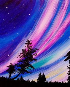 Items similar to SALE ** Aurora Borealis - Original Acrylic Painting on Etsy Easy Canvas Painting, Simple Acrylic Paintings, Sky Painting, Galaxy Painting, Acrylic Art, Painting & Drawing, Canvas Art, Moonlight Painting, Beginner Painting
