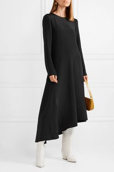 Tibi Tie-back Asymmetric Silk Midi Dress - Black Silk Midi Dress, Black Midi Dress, Tibi Dresses, Fashion Dresses, Minimalist Dresses, Hoodie Dress, Tie Backs, Black Silk, Active Wear