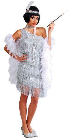 Disfraz de Charlestón Años 20 de lujo de color plata con flecos adulto para  mujer 1b8c42995c4