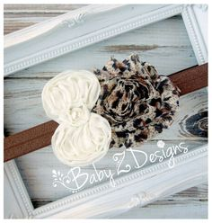 Leopard and Cream Chiffon Bow Headband by babyzdesigns