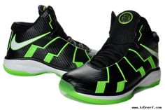 Discount Nike Zoom-Lebron 10.8 Shoes-Black Grass Green White