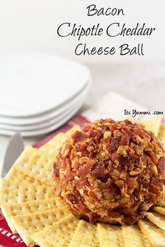 Bacon Chipotle Cheddar Cheese Ball recipe - This is party food, game day, or appetizer at its best!