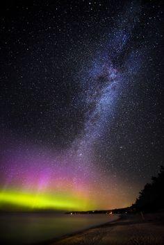 Aurora Borealis, Milky Way, by Lorenzo Montezemolo
