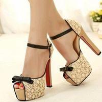 Lace Bowknot High Heels Women Sandal