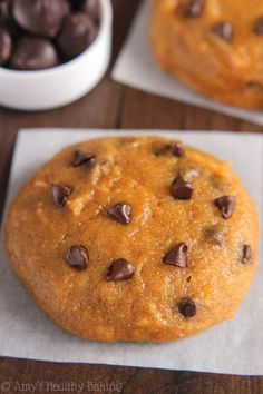 The ULTIMATE Soft & Chewy Pumpkin Chocolate Chip Cookies -- these skinny cookies don't taste healthy at all! You'll never need another pumpkin cookie recipe again!