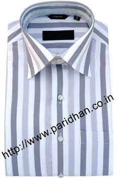 Men white and gray cotton shirt made in cotton fabric.