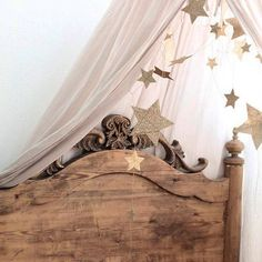 Details of a lovely bedroom... Numero74 featured products: Falling Star Garland in gold and Canopy in powder