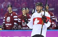 Shea Weber of Canada celebrates his goal against Latvia during third period in their quarterfinal match at the Sochi 2014 Olympic Games, February 19, 2014. Uses size