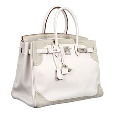LIMITED EDITION HERMES BIRKIN BAG 35cm GHILLIES WHITE.