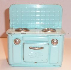 Vintage Child's Toy Tin Aqua Colored Stove
