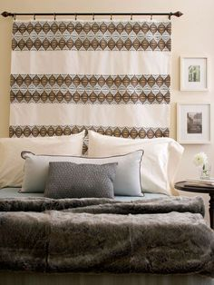 28 Pretty Headboard Decorating Ideas - - Add a headboard to your bedroom decor and you'll instantly kick up the style of any bed. As a bonus, headboards also make fab focal points. Here are some of our favorite headboard designs. Decor, Bedroom Decor, Headboard Curtains, Pretty Headboard, Headboard Decor, Simple Headboard, Headboard Styles, Home Decor, Bedroom Wall