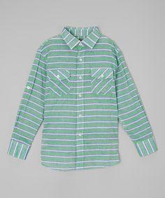Green & White Stripe Button-Up - Toddler & Boys