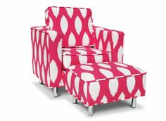 Hot Pink Patterned nursing chair for a pop of pink goes along great with my nursery plan!