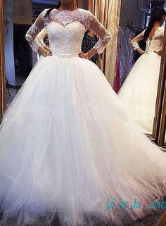 H1347 Modest 3/4 length sleeved princess ball gown wedding dress