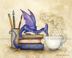 Dragon Bookwoorm 8X10 PRINT by Amy Brown