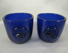 2 vintage Holmegaard Viking cobalt blue glass cups Ole Winther 1955