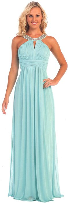 Evening Dresses Bridesmaid Dresses UNDER $100<BR>6048<BR>Beaded halter neckline full length gown with ruched bodice, center keyhole