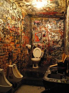To know CBGB's bathroom back in the day was to hold your nose and hope for the best. now??? its art.  Hilly's flair for not cleaning the men's room ended with his demise. RIR (Rest In Rock) Hilly