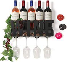 Amazon.com : wall mounted wine rack and glass holder Wine Cork Holder, Glass Holders, Wine Rack Wall, Wine Wall, Wine Racks, Kitchen Cabinet Wine Rack, Kitchen Store, Glass Rack, Wine Storage