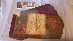 Leaf Collage Damask Browns Vinyl Placemats or Drink Coasters Set of 2,4,6 NEW #Greenbrier#damask