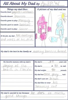 Ask your child these questions about their Daddy and youre sure to get some funny answers. Give the sheet to Daddy for Father's Day.