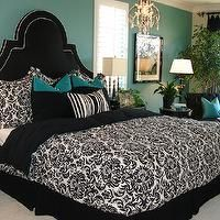 Black, white, and teal room idea