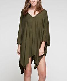 Olive Asymmetric-Hem Cape-Sleeve Dress #zulily #zulilyfinds
