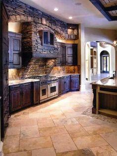 Bluish Brick & Wood Kitchen