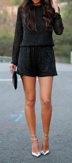 Fashion trends | Sequined long sleeves black romper with silver strapped heels and black clutch