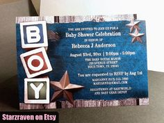 Rustic Boy Baby Shower Invitations, Denim Southern Country Rustic Stars and Toy Blocks