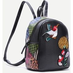 SheIn(sheinside) Black Sparrow and Chrysanthemum Embroidered PU... (745 PHP) ❤ liked on Polyvore featuring bags, backpacks, daypack bag, embroidered backpacks, pu backpack, embroidery bags and embroidered bags