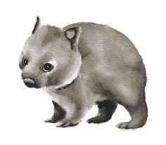 Baby Wombat-art print nursery art watercolor painting watercolor print Australia children's art animal art animal grey gray black 5x7+