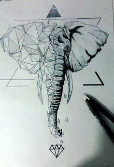 Ideas Of Cool Geometric Tattos Geometric Elephant Tattoo, Geometric Lion, Elephant Tattoo Design, Geometric Drawing, Elephant Art, Elephant Tattoos, Geometric Sleeve, Geometric Tattoo Drawings, Tattoo Abstract