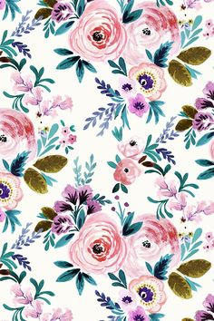 Victoria Floral by crystal_walen. Colorful hand painted floral pattern on fabric, wallpaper, and gift wrap. Lavender, pink, mauve, emerald, and olive in a whimsical botanical design.