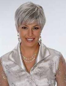 Attractive Woman with a short haircut and gorgeous gray hair. Tips on how to let your hair go gray.