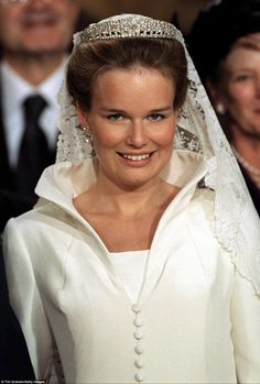 Belgium nuptials: For her wedding in 1999, Mathilde chose to wear the Queen Elisabeth Band...