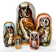 Russian Dolls  - Owl Nesting Doll, $67.99 (http://www.russiandolls-boutique.com/nesting-dolls/owl-nesting-doll/)