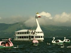 Swan Boat in Lake Yamanaka, Japan, near Mt. Fuji
