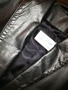 Vintage GENUINE LEATHER Peter Caruso BLACK Jacket Coat USA Made ~ NEVER WORN