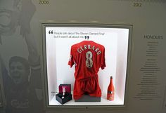 The Steven Gerrard Collection at Liverpool Football club Museum - the shirt from the 2006 FA Cup final including mud. Photo by Colin Lane