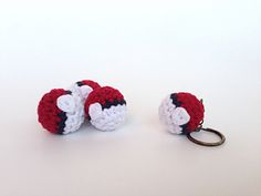 A pattern for how to crochet a tiny Pokéball. The pattern has instructions for how to do color changes, button additions, and stuffing and sewing together. It's in written and video form.